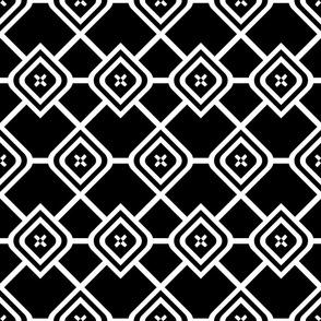 Diamond Lattice Black White