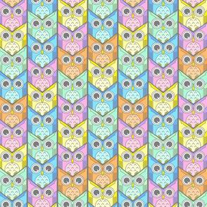 woodland owl chevron pastel colors