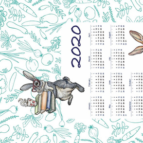 2020 Hungry Bunny Calendar Tea Towel by ArtfulFreddy