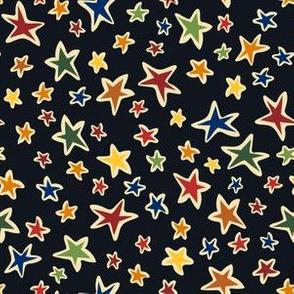 Star Light: Black, small scale fabric