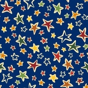 Star Light: Blue, small scale fabric