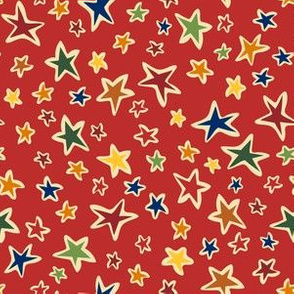 Star Light: Red,  small scale fabric