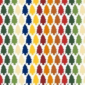 Rainbow Winter Pine Trees: small scale