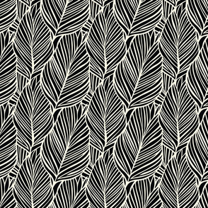 Tropical Leaf_black with cream_ smaller scale