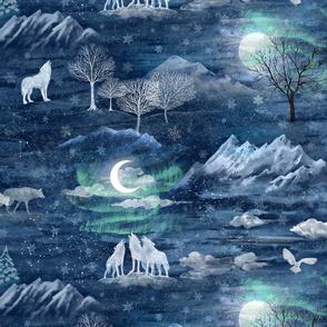 Wolfsmond, sibirian wolves in an arctic moon night with aurea boralis, Barnowl, aurora borealis, Snowflakes and stars