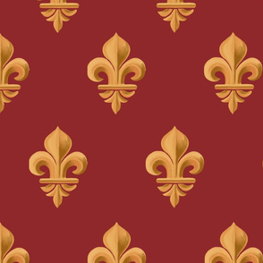 Fleur-de-lis, geometric bas-relief. Vintage gold and deep red pattern