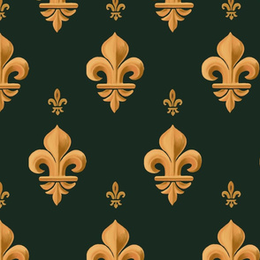 Fleur-de-lis, geometric bas-relief. Vintage gold and green  pattern