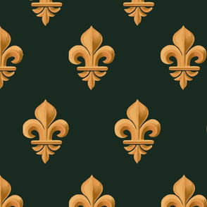 Fleur-de-lis, geometric bas-relief. Vintage gold and deep green  pattern