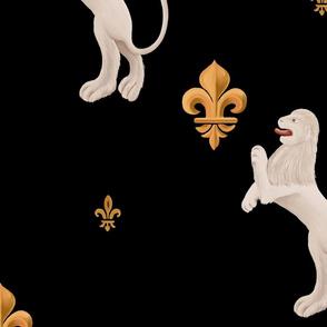 Fleur-de-lis and lion geometric bas-relief. Vintage design in medieval tapestries style.