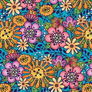 Bright Bouquet-Turquoise