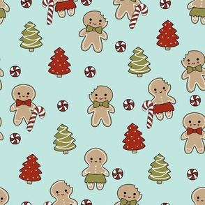 gingerbread people - gingerbread cookies, sweets fabric, cute fabric, holiday fabric, xmas fabric, gingerbread fabrics - mint
