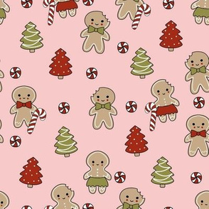 gingerbread people - gingerbread cookies, sweets fabric, cute fabric, holiday fabric, xmas fabric, gingerbread fabrics - pink