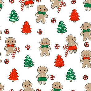 gingerbread people - gingerbread cookies, sweets fabric, cute fabric, holiday fabric, xmas fabric, gingerbread fabrics - red and green