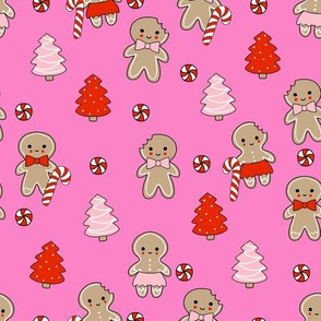 gingerbread people - gingerbread cookies, sweets fabric, cute fabric, holiday fabric, xmas fabric, gingerbread fabrics - hot pink