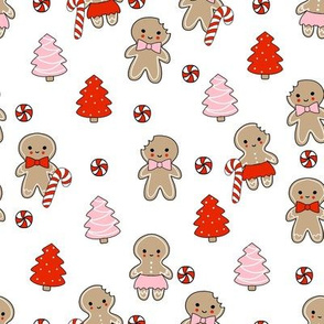 gingerbread people - gingerbread cookies, sweets fabric, cute fabric, holiday fabric, xmas fabric, gingerbread fabrics -   red and pink