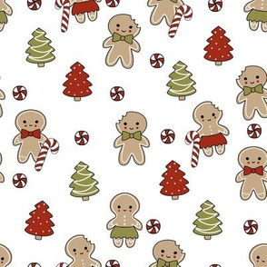 gingerbread people - gingerbread cookies, sweets fabric, cute fabric, holiday fabric, xmas fabric, gingerbread fabrics - white