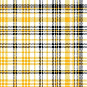 steelers plaid - black and gold fabric, black and gold tartan, black and gold check