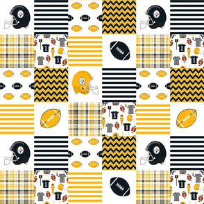 """steelers quilt - 3"""" quilt squares - football fabric, american football fabric, pittsburgh fabric"""