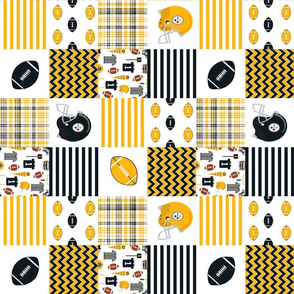 "steelers quilt - 3"" quilt squares - football fabric, american football fabric, pittsburgh fabric"