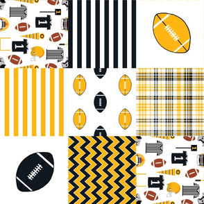 """steelers quilt - 6"""" quilt squares - football fabric, american football fabric, pittsburgh fabric"""