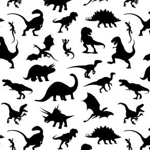 Land of Dinosaurs!  Black on white
