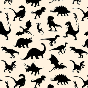 Land of Dinosaurs! Black on beige