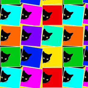 Peek-a-Boo Black Cats - multi rainbow (large)