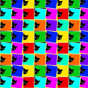 Peek-a-Boo Black Cats - multi rainbow (small)