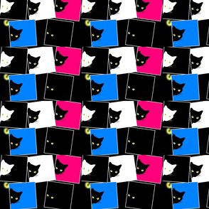 Peek-a-Boo Black Cats - multi - pink blue black white (small)