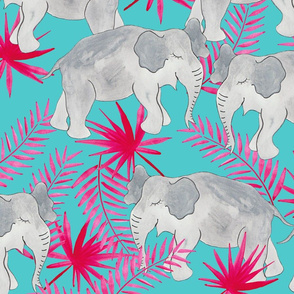 Elephants Pink and Blue (Larger Scale)