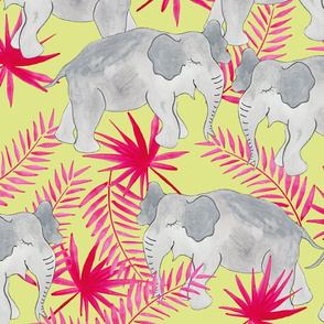 Elephants Pink and Lime (Larger Scale)
