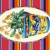 Talavera FlowerPot and Daisies Tea Towel