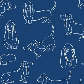 Basset Hounds (Navy Background)