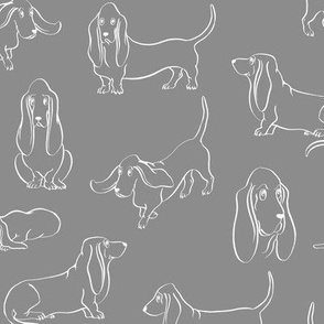 Basset Hounds (Grey Background)