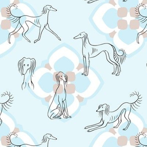 Saluki Pattern (Light Blue Background)