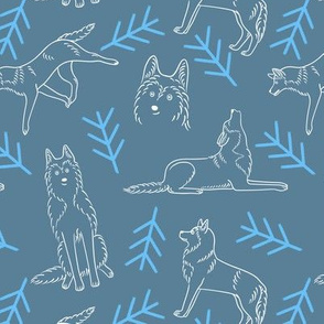 Minimalistic Huskies Pattern (Blue-Grey Background)