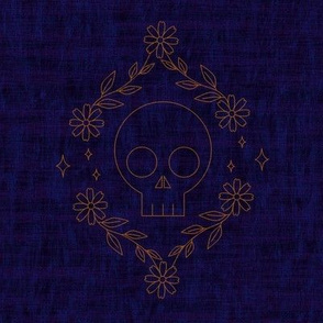 Skull Embroidery Blue