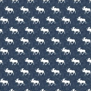(micro scale) moose on navy linen C19BS