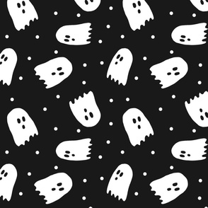 white ghosts with white dots on black