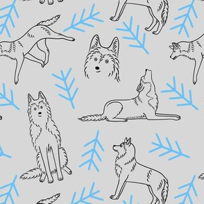 Minimalistic Huskies Pattern (Light Grey Background)