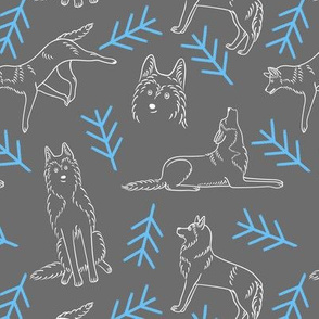 Minimalistic Huskies Pattern (Dark Grey Background)