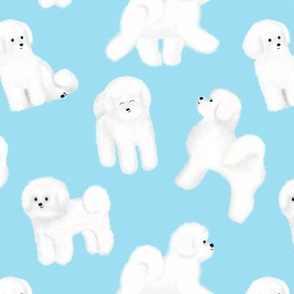 Bichon Frise Pattern (Light Blue Background)