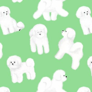 Bichon Frise Pattern (Light Green Background)