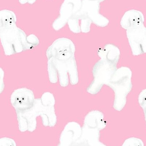 Bichon Frise Pattern (Pink Background)
