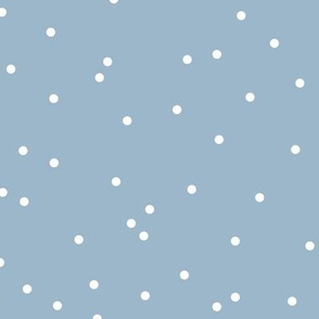 Colorful winter snow confetti fun little dots and circles spots flakes soft blue white boys