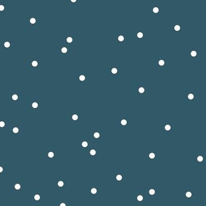 Colorful winter snow confetti fun little dots and circles spots flakes navy blue night white boys