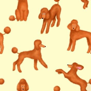 Red Poodles on Light Yellow Background