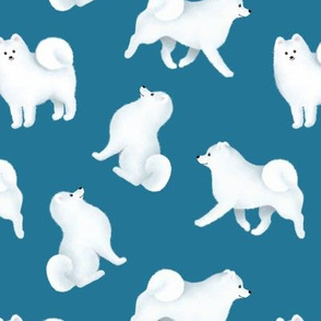Samoyed Pattern (Blue Background)