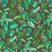 Emerald Tropical Leaf Scatter on Brown - large