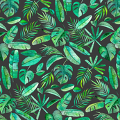 Emerald Tropical Leaf Scatter on Dark Charcoal Grey - large